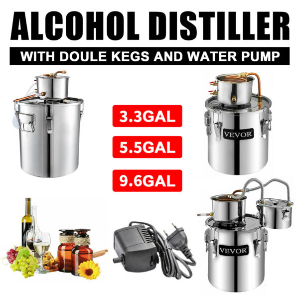 VEVOR Moonshine Still 3 5 8Gal Water Wine Alcohol Distiller Boiler Kit Home DIY $159.99