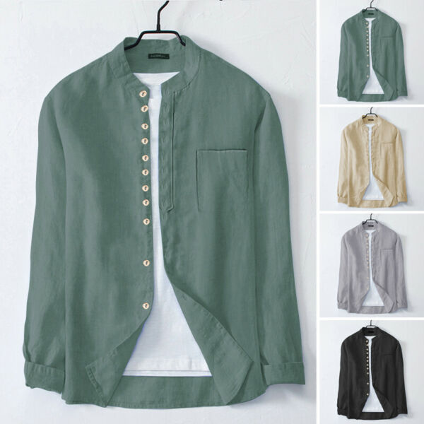 Men#x27;s Long Sleeve Cotton Linen Shirt Collarless Button Down Smart Blouse T Shirt