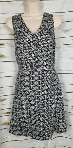Gap Black Printed Dress 100% Linen Fit amp; Flare 16 $29.95