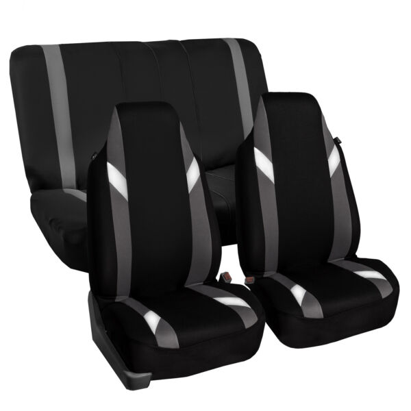 Highback Universal Seat Cover Full Set For Auto SUV Car Gray Black $24.99