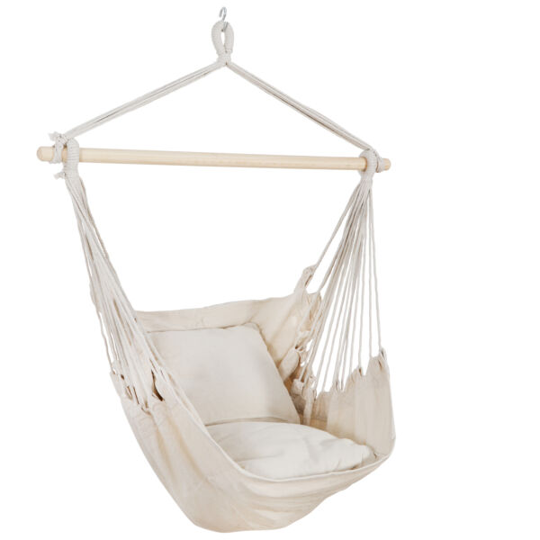 Hammock Cotton Swing Hanging Rope Chair Beige Outdoor Patio with 2 Cushions $19.99