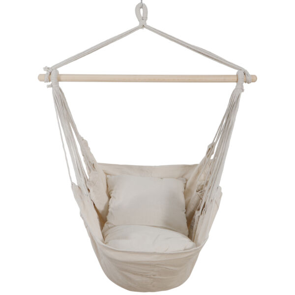 Beige Hammock Hanging Rope Chair Swing Seat Patio Camping with 2 Cushions $26.99