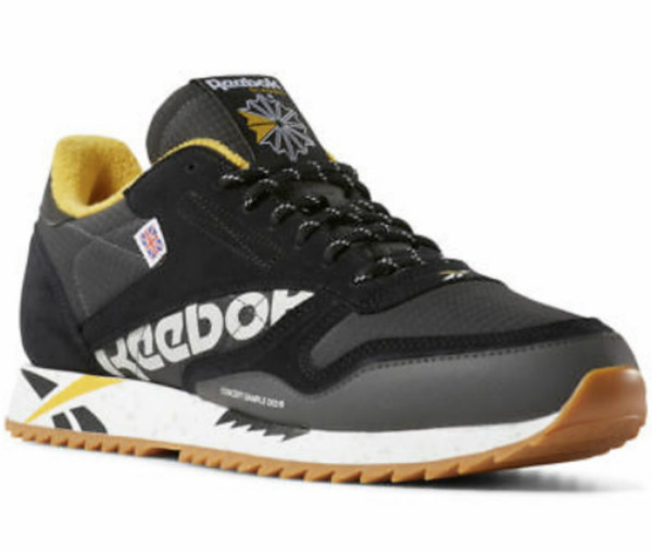 Reebok Classic Men's Classic Leather Ripple Altered Shoes Black Yellow DV7191