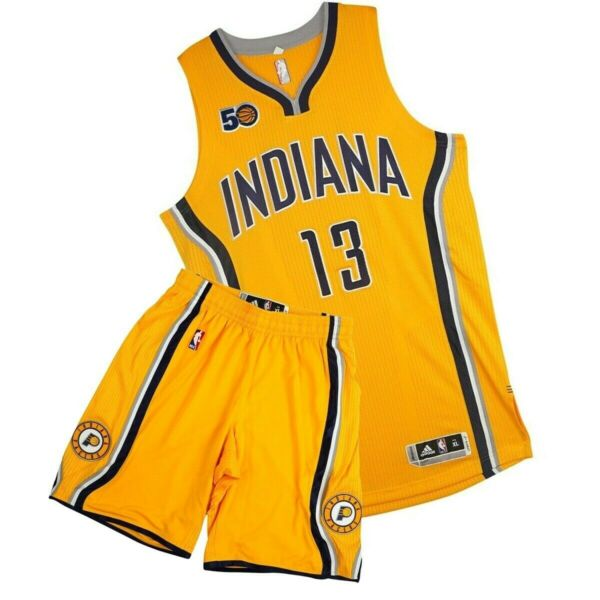 Paul George Adidas Indiana Pacers Authentic Gold On-Court Rev Jersey