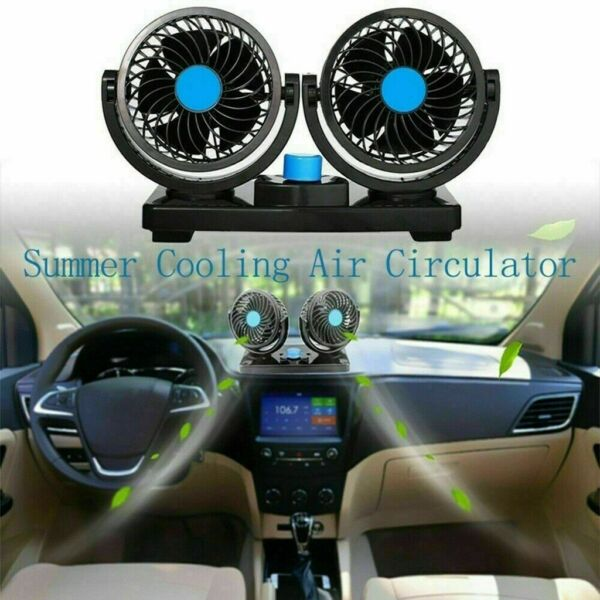 12 Volt Electric Auto Car Oscillating Van Fan Dashboard Cooler Air Con Dual Head