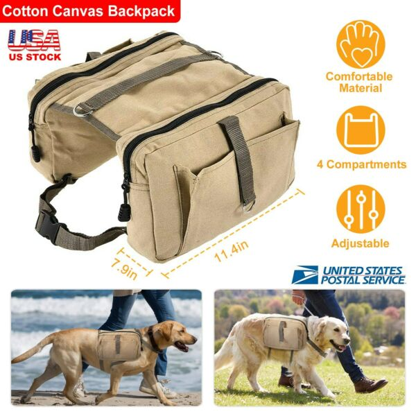 Pet Backpack Hound Hiking Camping Travel Dog Saddle Bag Cotton Canvas Outdoor US $16.91