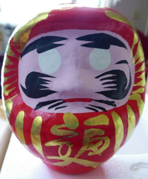 Vintage United Airlines Japanese Daruma Doll Promo + Mini Doll Good Luck Wishes