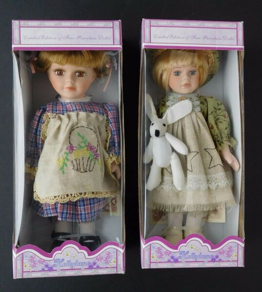 "HOLLYLANE Limited Edition Porcelain Dolls Posable 10"" Lot of 2 with stands NRFB"