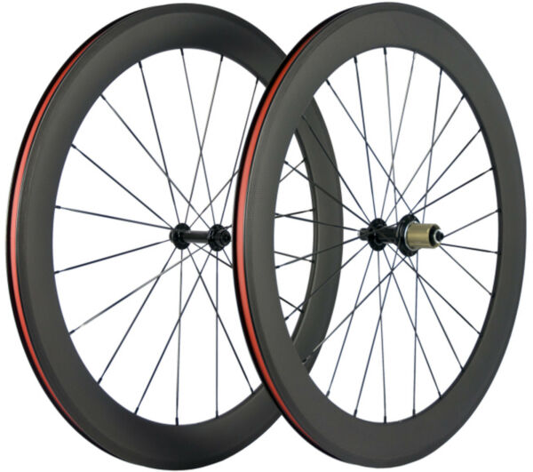 700C 60mm Road Bike Wheels Clincher Carbon Wheelset Front amp; Rear Wheels Bicycle