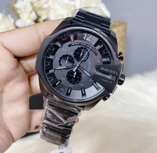 Diesel Mega Chief Black Stainless Steel Chronograph Watch DZ4355