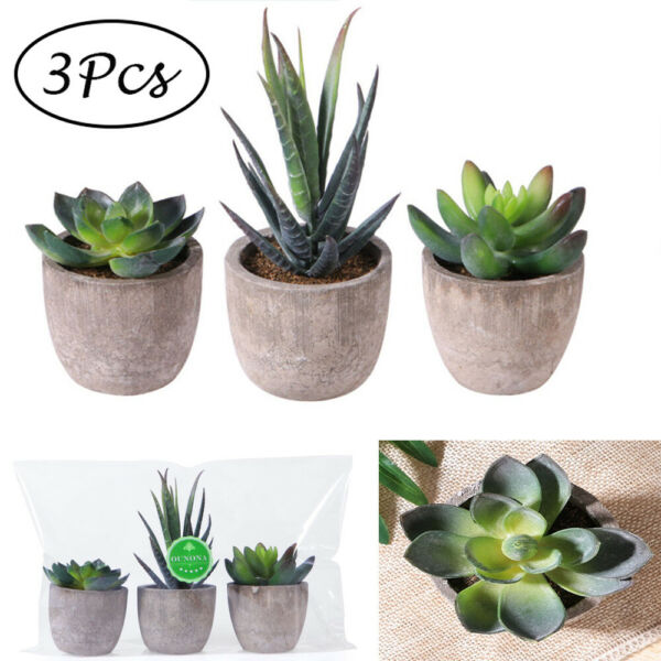 3pc Artificial Plants Bonsai Small Tree Pot Plants Fake Flowers Potted Ornaments