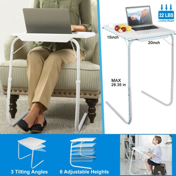 Foldable Portable Table TV Table Dinner Tray Laptop Adjustable Desk Home Office $24.99