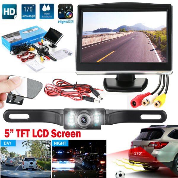 Wired Car Backup Camera Rear View System With Night Visionamp; 5quot; LCD Monitor US