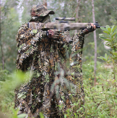 3D Maple Leaf Camo Poncho Ghillie Suits Jungle Woodland Hunting Clothes
