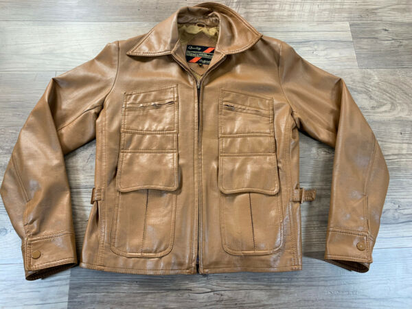 Vintage Sears The Mens Store Faux Leather Jacket Brown Sz Med