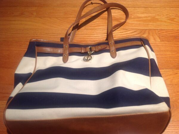 New with tag Tommy white and navy blue striped canvas bag large $45.00