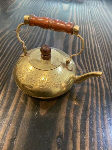 """VINTAGE SMALL BRASS TEAPOT WITH WOOD HANDLE Etching 6.75"""" X 5"""""""