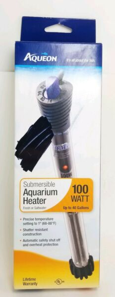 AQUEON Submersible Aquarium Heater 100 WATT Fresh or Saltwater up to 40 Gal New $19.99