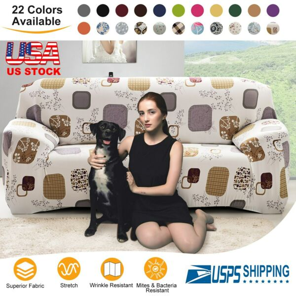 1 2 3 Seater Stretch Chair Cover Sofa Covers Elastic Protector Cover Slipcover $19.28
