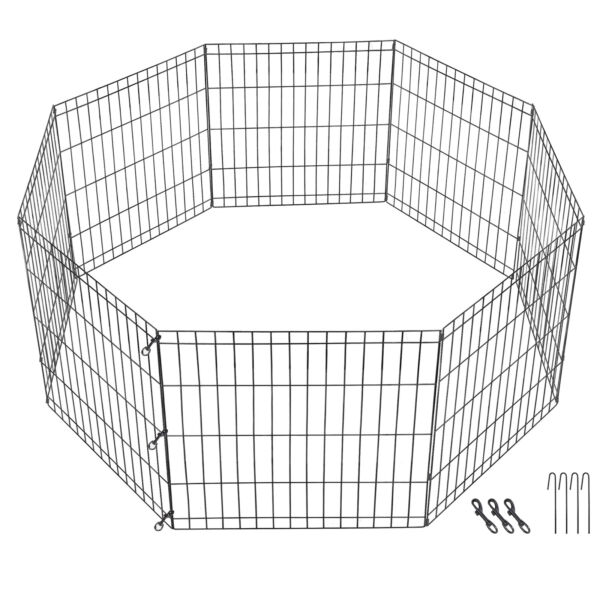 Large Crate Fence Pet Play Pen 24 Inch 8 Panels Tall Dog Playpen Exercise Cage