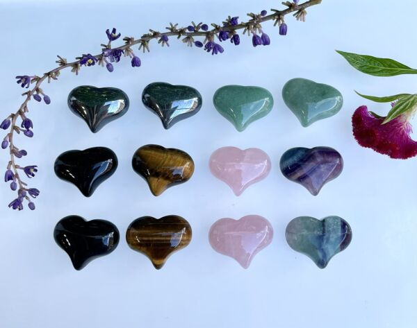 "Wholesale Lot 12 Pcs 1"" Mix Natural Crystal Heart❤️ Nice Quality Healing Energy $20.00"