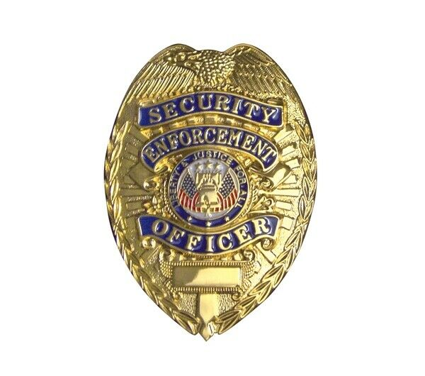 Gold Badge prop costume permit Security Enforcement  pin on back