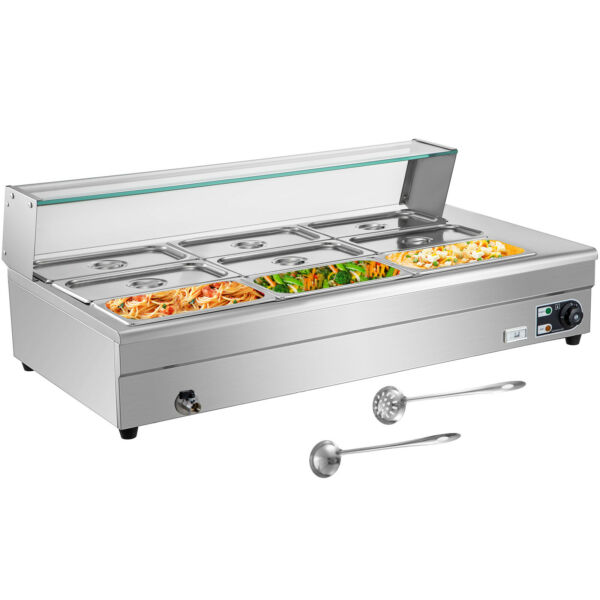 Bain Marie Food Warmer Commercial Food Steam Table 9 Pans with Glass Shield