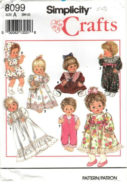Simplicity 8099 Baby Doll Clothes Sewing Pattern 12