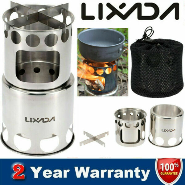 Lixada Portable Stainless Steel Wood Stove Outdoor Cooking Picnic Camping Burner