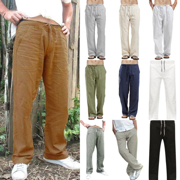 Mens Cotton Linen Loose Pants Casual Beach Drawstring Trousers Slacks Summer US $17.85