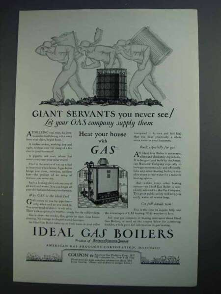 1927 Ideal Gas Boilers Ad Giant Servants $16.99