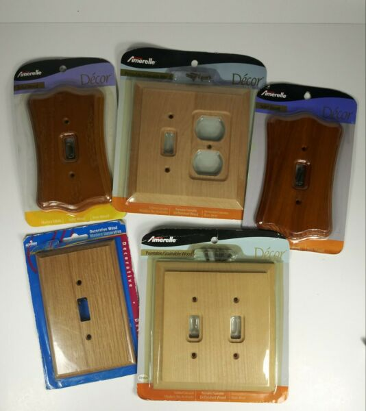 Lot Bundle 5 Amerelle Leviton Wood Switch Wall plate Decor Collection New $20.00