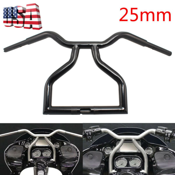 Black 13quot; Rised 25mm Twisted T Bar Handlebar For Harley Road Glide FLTR 98 13 US