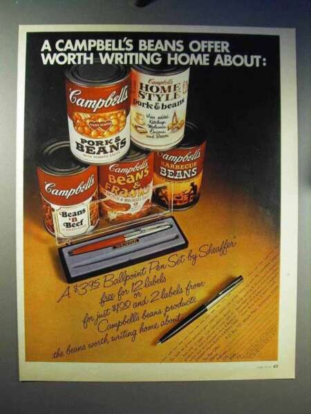 1970 Campbell#x27;s Soup Beans Ad Sheaffer Pen Set