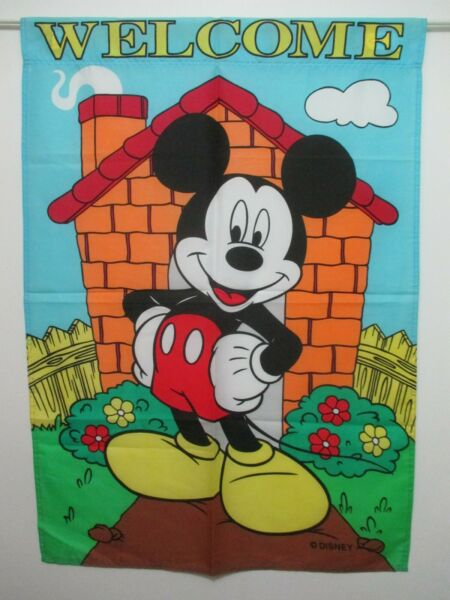 MICKEY MOUSE BRICK HOUSE WELCOME FLOWERS DISNEY - LARGE 28x40 APPLIQUE FLAG  EUC