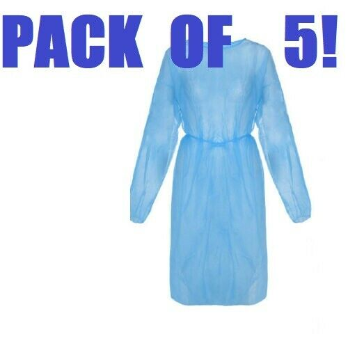 5 Fluid Resistant Full Length PPE Isolation Gowns Blue Elastic Cuffs Disposable