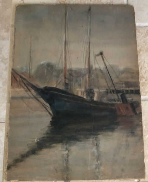 CLARA R. SAUNDERS NAUTICAL WATERCOLOR SIGNED PAINTING SHIP BOAT LISTED 1 OF TWO