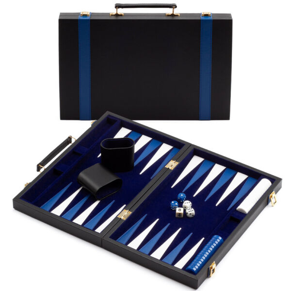 Large Folding Portable Leather Backgammon Travel Board Game Set with Game Pieces