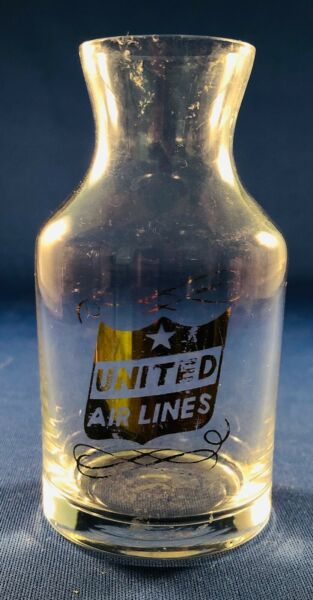 """United Airlines Wine Carafe - 2"""" x 3.75"""" Gold Canted Shield Logo"""