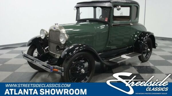 1928 Ford Model A Rumble Seat Coupe classic vintage chrome wire spoke wheels bias ply green paint fomoco pre war