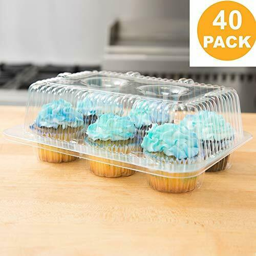 40 Cupcake Containers Plastic Disposable High Dome Cupcake Boxes 6 Compartmen
