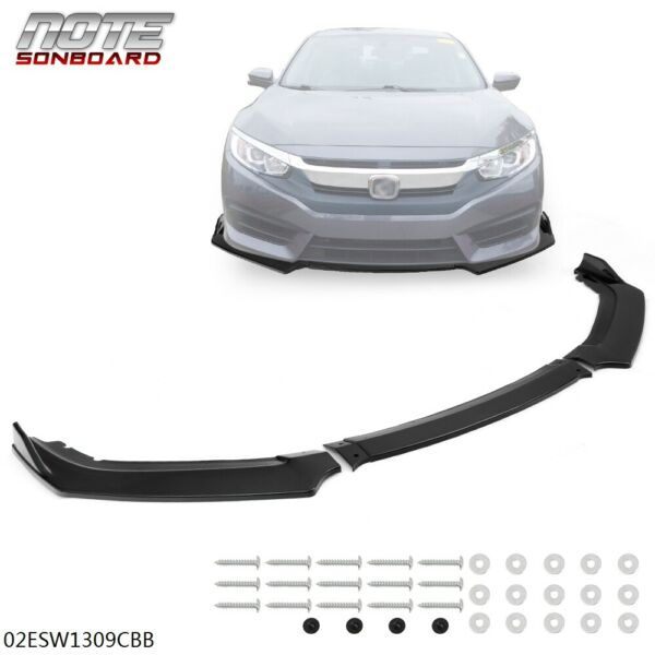 Glossy Black Front Bumper Lip Spoiler Splitters Body Kit For Honda Civic 16 20