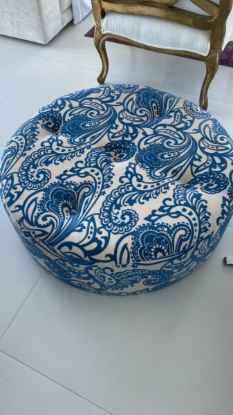 LargeRound Blue Pattern Ottoman Coffee Table or Foot Stool