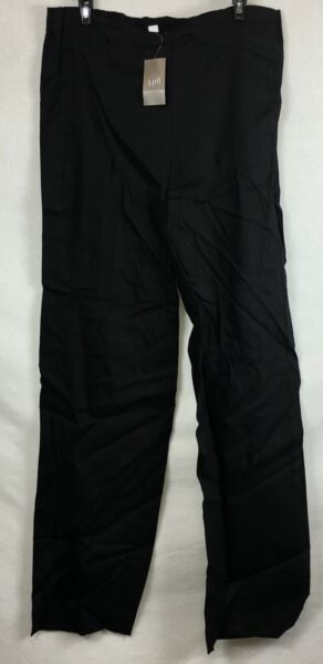 New J. Jill Easy Linen Stretch Flat Front Pants Black Size 10T $19.95