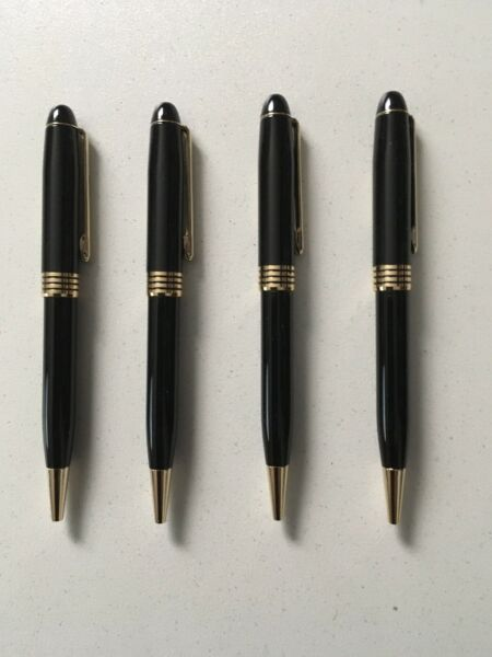 4 Gold Point Monte Blanc Style Ball Point Pen Black Lacquer amp; Gold Trim