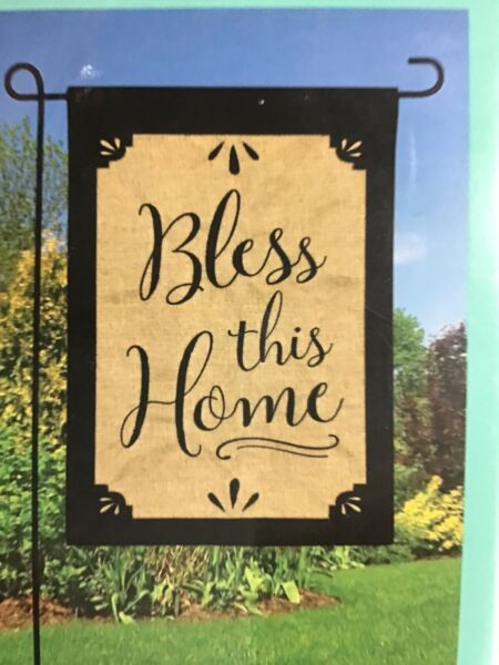 "Small Burlap Garden Flag 12.5quot; x 18"" Rustic Bless This Home Meadow Creek"