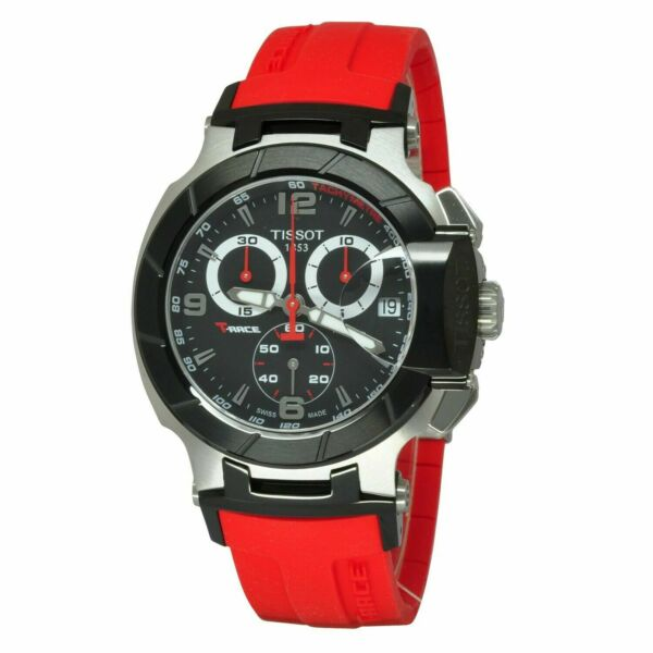 Tissot T Race Red Rubber Band Mens Chronograph New Watch T048.417.27.057.01