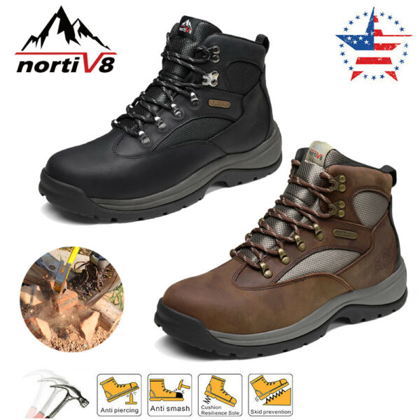 NORTIV 8 Men#x27;s Steel Toe Boots Work Safety Protection Waterproof Construction