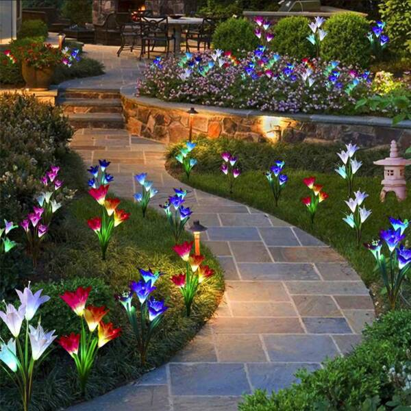 2 Pack Solar Lily Flowers Garden Lights LED Multi Color Outdoor Yard Decor Lamp