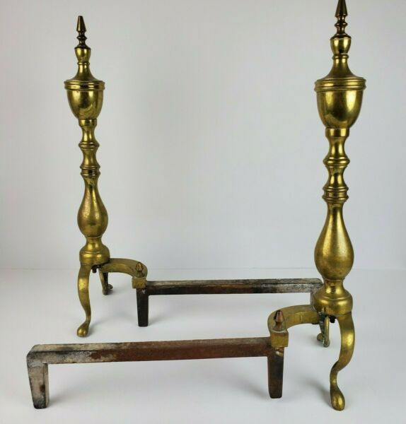 Vintage Fireplace Andirons Brass Metal Cast Iron 21 Inch Tall Colonial